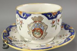 Late 19th century Faience Armorial Cup and Saucer