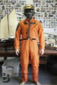 A vintage 1961 orange Coveralls men's summer flying suit dated 18th January 1961 size 40 long,