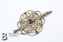 Edwardian 9ct Yellow Gold Amethyst and Seed Pearl Pendant