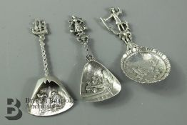 Three Continental Silver Caddy Spoons
