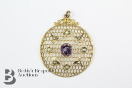 Edwardian 9ct Amethyst and Seed Pearl Pendant