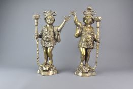 Pair of Cast Brass Blackamoor Candle Stands
