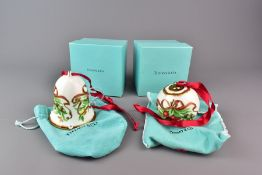 Two Tiffany & Co 'Tiffany Holiday' Christmas Decorations