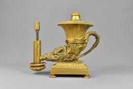 Regency Ormolu Rhyton Oil Lamp