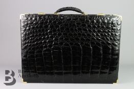 Vintage J. Perez Black Crocodile Skin Briefcase