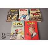 Five W E Johns Biggles First Edition Books in Dust Jackets