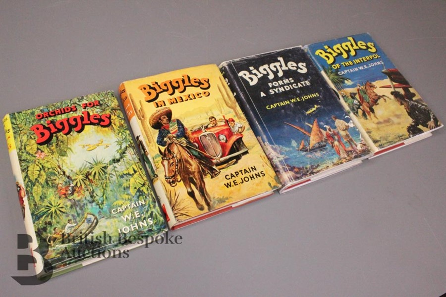 Four Captain W Johns Biggles First Edition with Dust Jackets