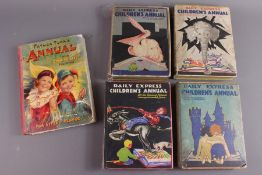 4 Daily Express Children's Annuals 1930 with Pop-ups Including Rupert The Bear & Father Tuck Annual