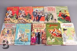 10 First Edition Jennings, Just William and The Saint Books in Dust Jackets
