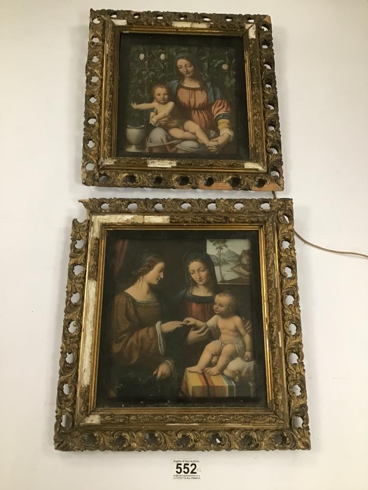 Lot 552 - TWO ANTIQUE PRINTS IN GILT GESSO FRAMES BOTH FRAMES A/F, ONE PRINT BEING MADONNA OF THE ROSES BY
