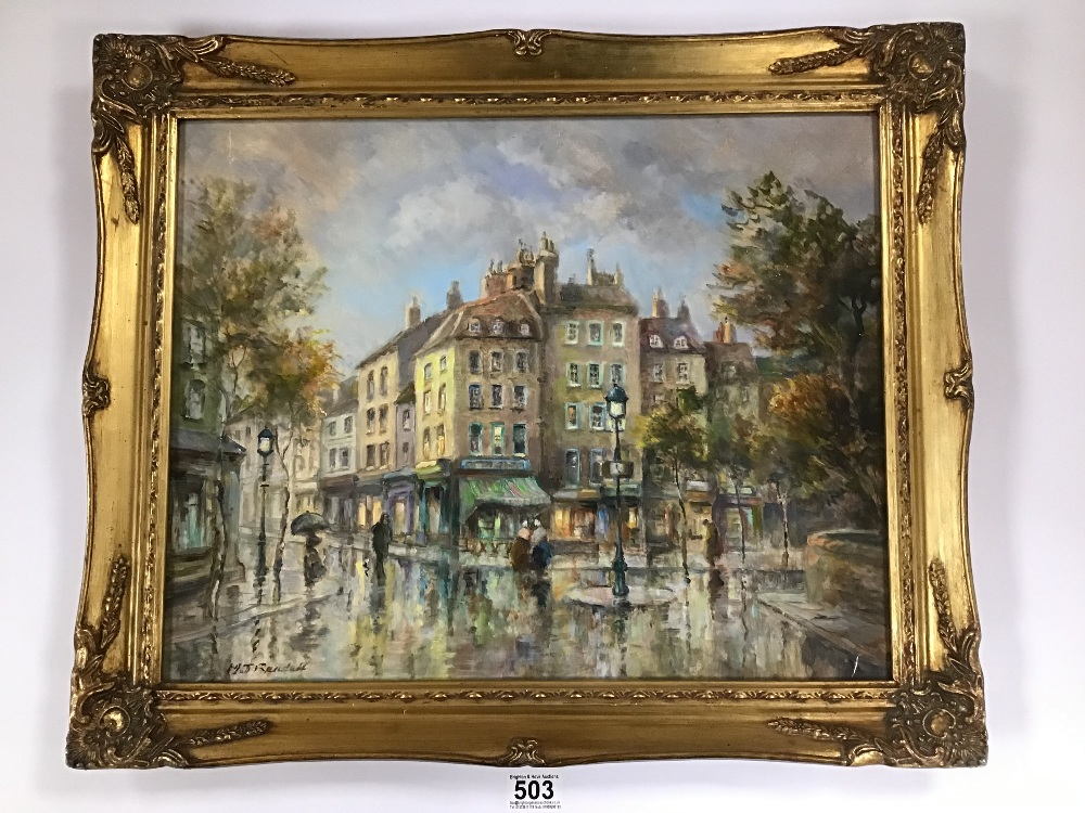 Lot 503 - M J RENDELL A FRAMED OIL ON BOARD OF A FRENCH STREET SCENE WITH FIGURES AND REFLECTIONS, 50CM BY