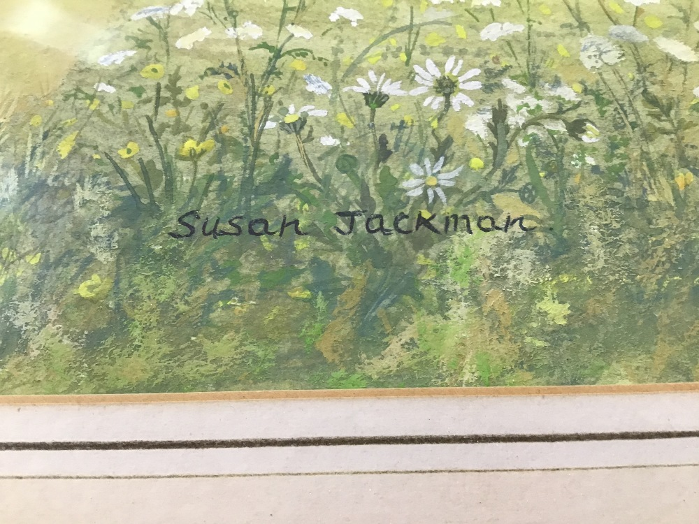 Lot 514 - A FRAMED AND GLAZED WATERCOLOUR OF A EXTENSIVE COUNTRY SCENE SIGNED SUSAN JACKMAN 72CM BY 101CM