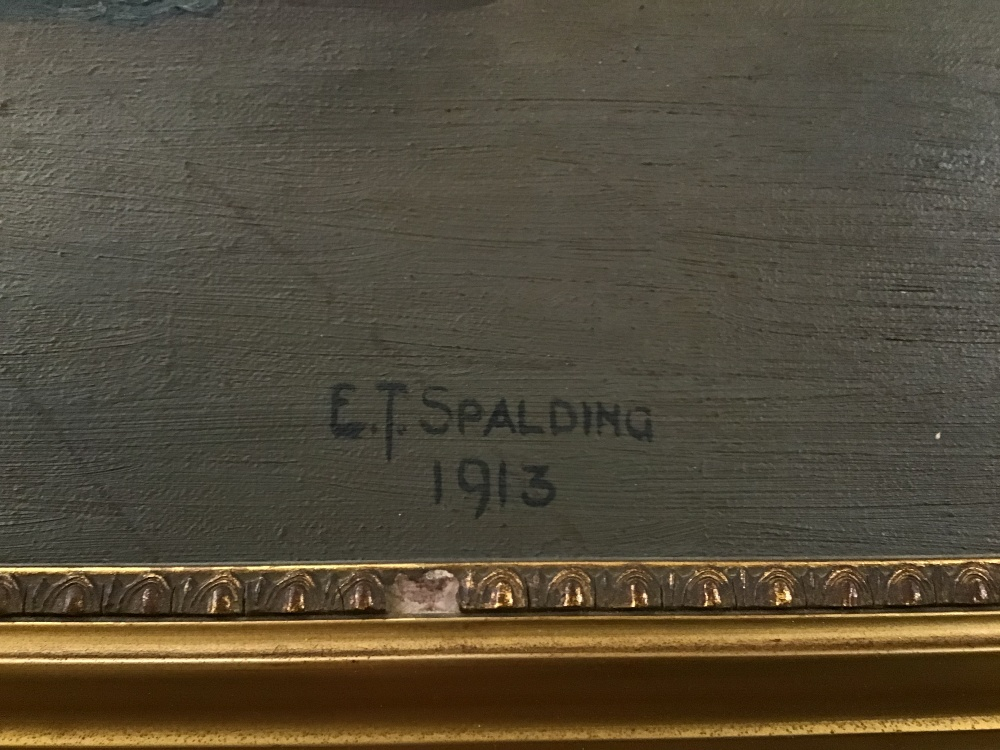 Lot 513 - A FRAMED OIL ON CANVAS OF A VENETIAN SCENE SIGNED E J SPALDING 73CM BY 103CM