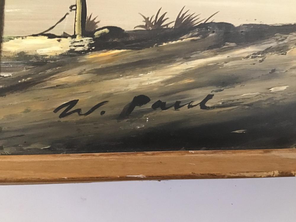 Lot 505 - A SIGNED W PAVIL FRAMED OIL ON BOARD ESTUARY SCENE WITH COTTAGES 48CM BY 94CM