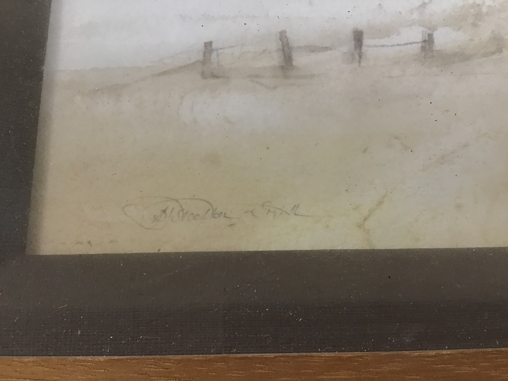 Lot 550 - STOCKTON-SMITH (20TH CENTURY) A FRAMED AND GLAZED IMPRESSIONIST WATERCOLOUR SKETCH OF A WOMAN AND