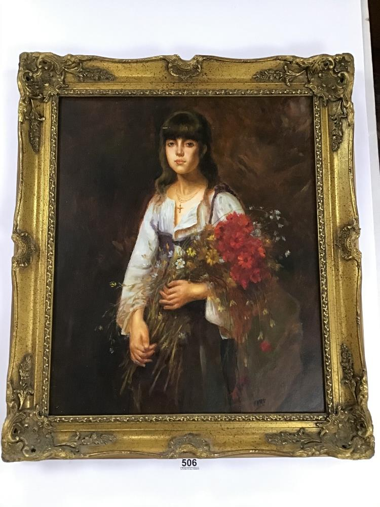 Lot 506 - A FRAMED OIL ON CANVAS SIGNED IVAN PORTRAIT OF A GIRL WITH FLOWERS 75CM BY 65CM