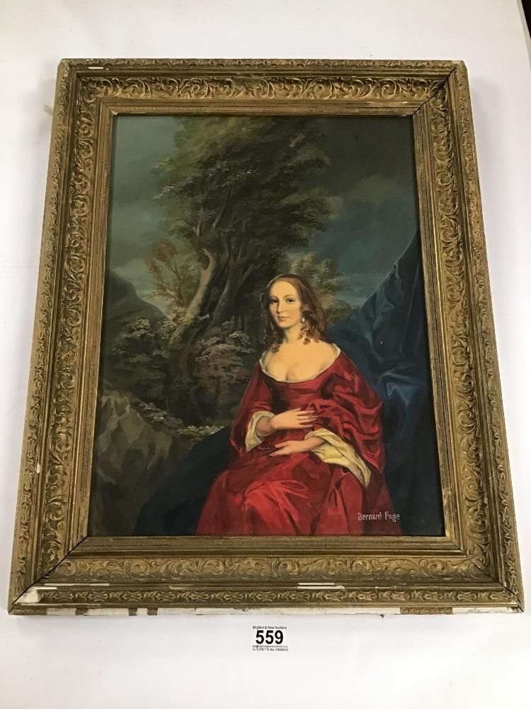 Lot 559 - BERNARD PAGE (1905 - ) A GILT AND ORNATE GESSO FRAMED OIL ON BOARD OF A WOMAN IN PERIOD COSTUME WITH