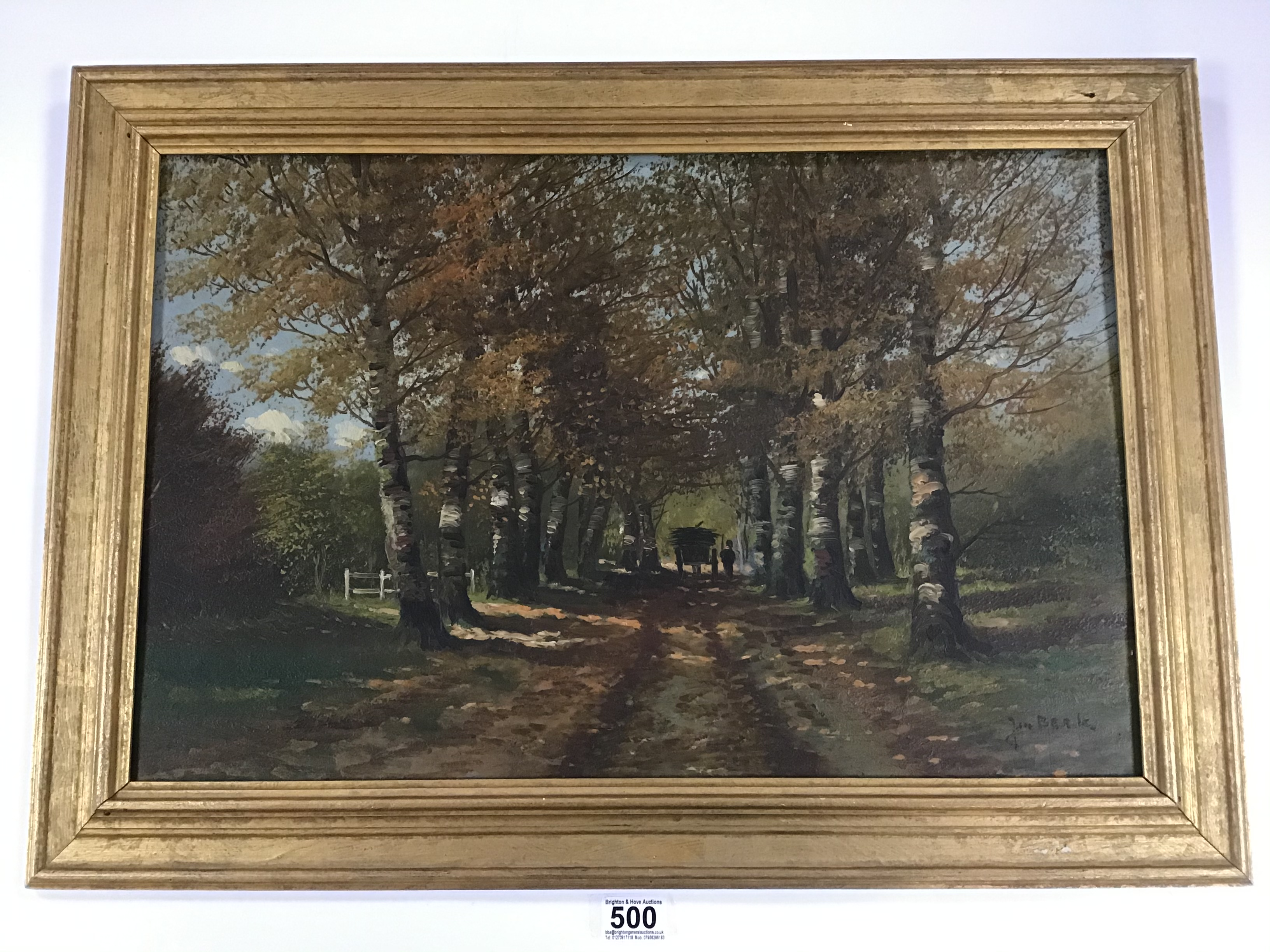 Lot 500 - A FRAMED OIL ON BOARD WOODLAND SCENE SIGNED J BERK 51CM BY 72CM