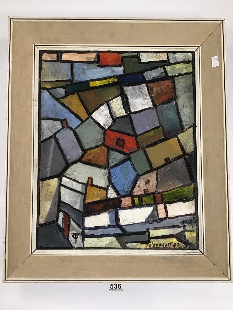 Lot 536 - THOMAS O'DONNELL, A VINTAGE OIL ON BOARD OF A STREET SCENE PAINTED IN CUBISM STYLE IN A MID