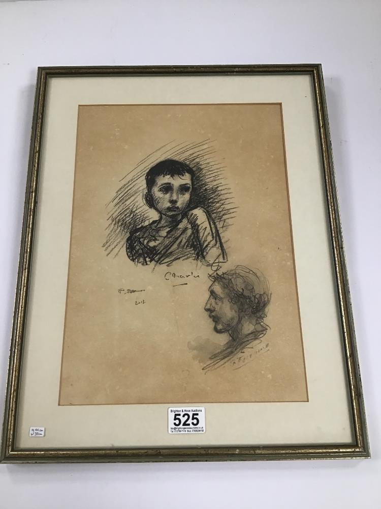 Lot 525 - TOM O'DONNELL, A FRAMED AND GLAZED CHARCOAL DUAL PORTRAIT SKETCH, H44CM X W38CM