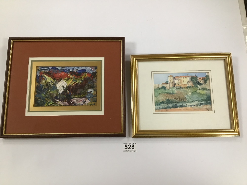 Lot 528 - THOMAS O'DONNELL A FRAMED AND GLAZED ACRYLIC IMPASTO ON BOARD ENTITLED 'BARMOUTH, NORTH WALES' AND
