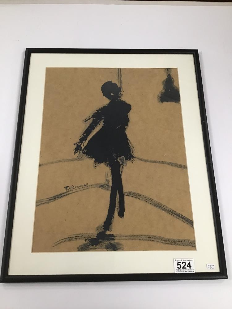 Lot 524 - THOMAS O'DONNELL A FRAMED AND GLAZED PEN AND WASH OF A BALLERINA, H52CM X W42CM