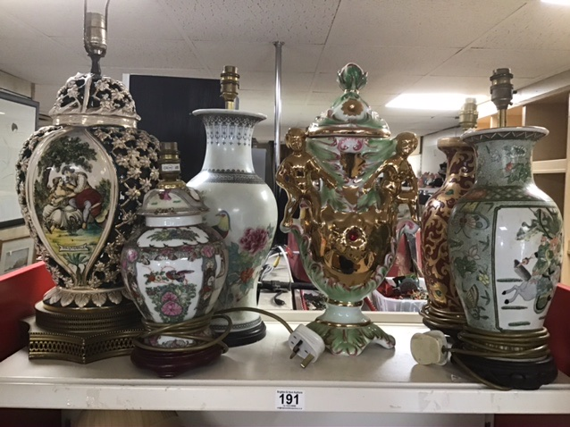Lot 191 - A COLLECTION OF MAINLY CERAMIC LAMPS SOME OF WHICH