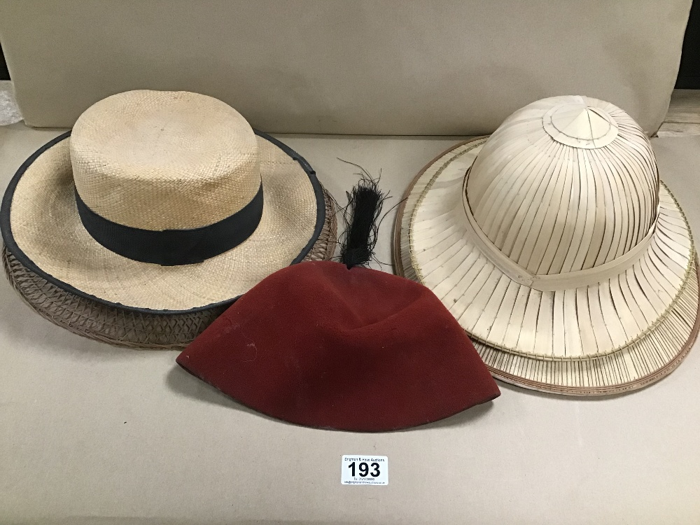 STRAW HATS INCLUDING PIF HAT AND A FEZ