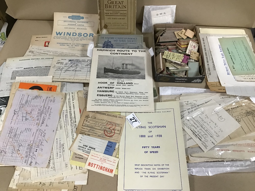 Lot 27 - AN ASSORTMENT OF RAILWAYANA, INCLUDING TRAIN TICKETS, BOOKS AND MORE