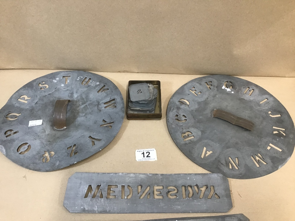 Lot 12 - AN ASSORTMENT OF EARLY LEAD LETTERING AND NUMBERS STENCILS