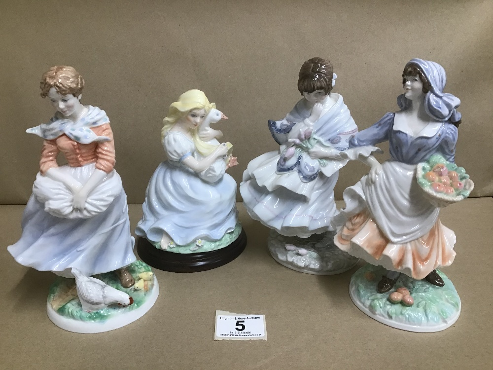 Lot 5 - TWO ROYAL WORCESTER FIGURES OF LADIES, INCLUDING 'ROSIE PICKING APPLES' TOGETHER WITH TWO SIMILAR BY