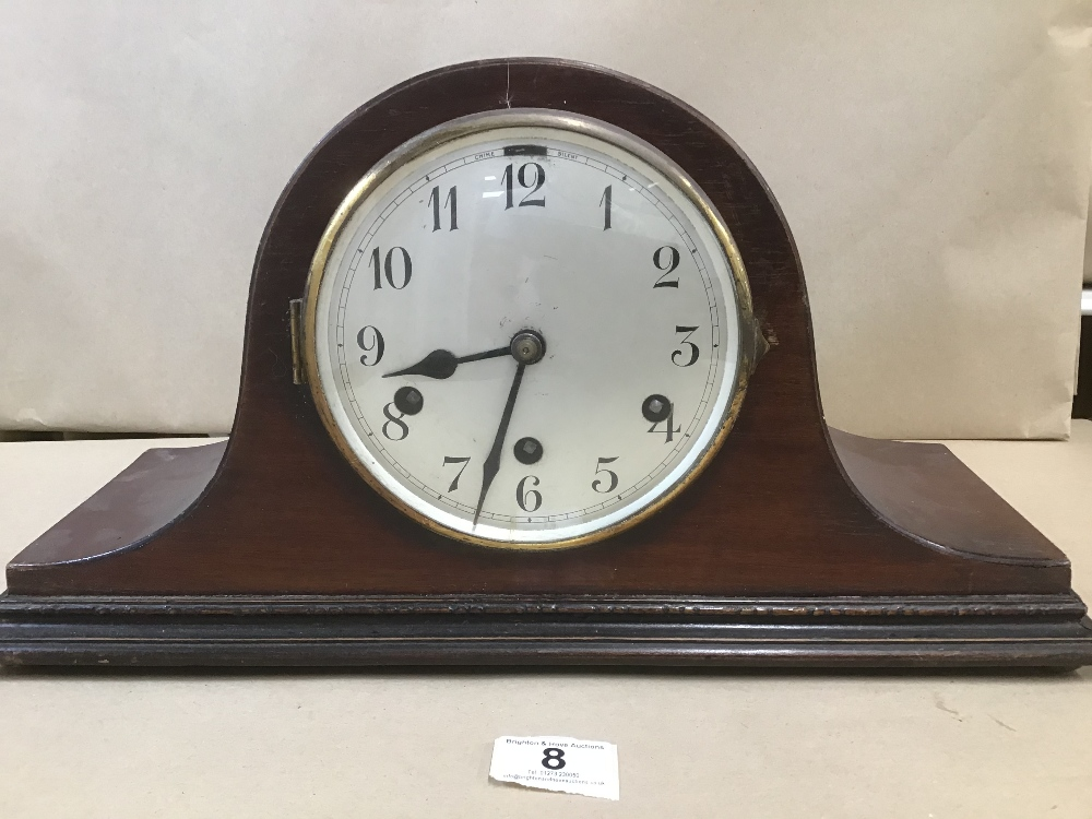 Lot 8 - A VICTORIAN SLATE MANTLE CLOCK BY THE ANSONIA CLOCK CO, PATENTED JUN 18TH 1882, TOGETHER WITH A
