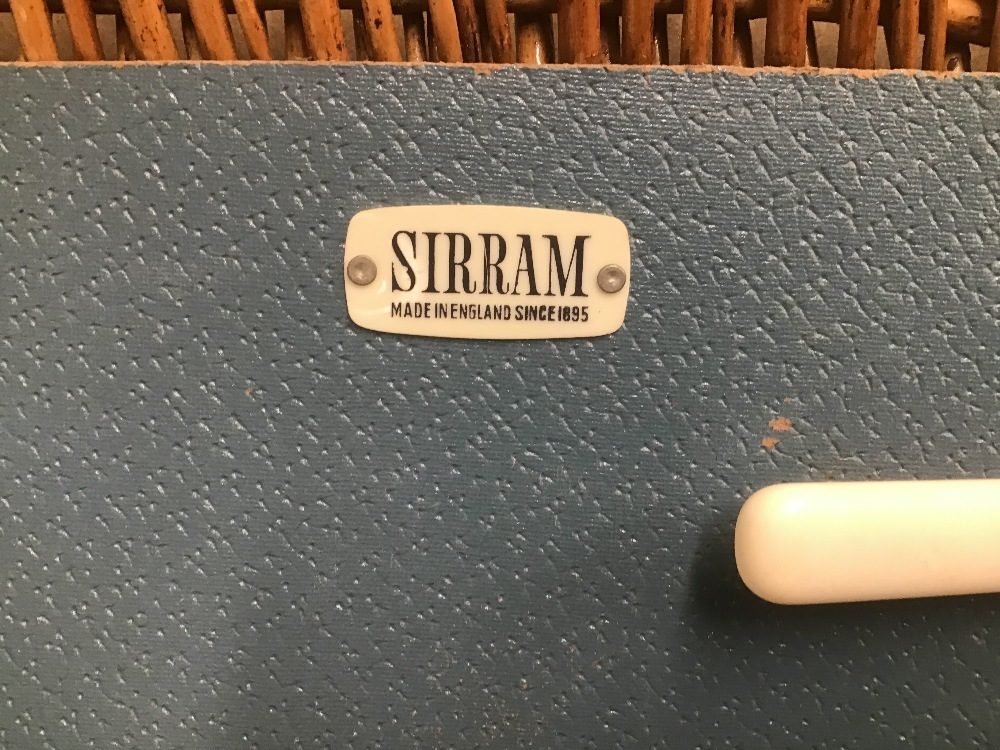 Lot 3 - A VINTAGE PICNIC BASKET BY SIRRAM ORIGINAL CONTENTS