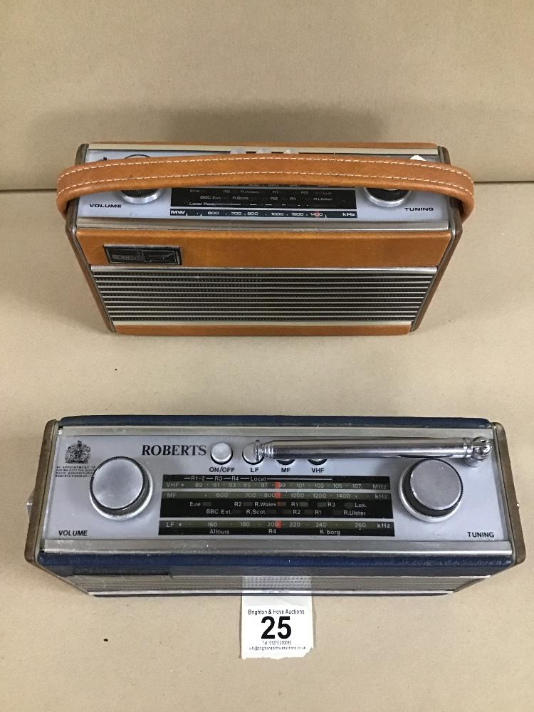 Lot 25 - TWO ROBERTS RADIO'S, INCLUDING ROBERTS RAMBLER