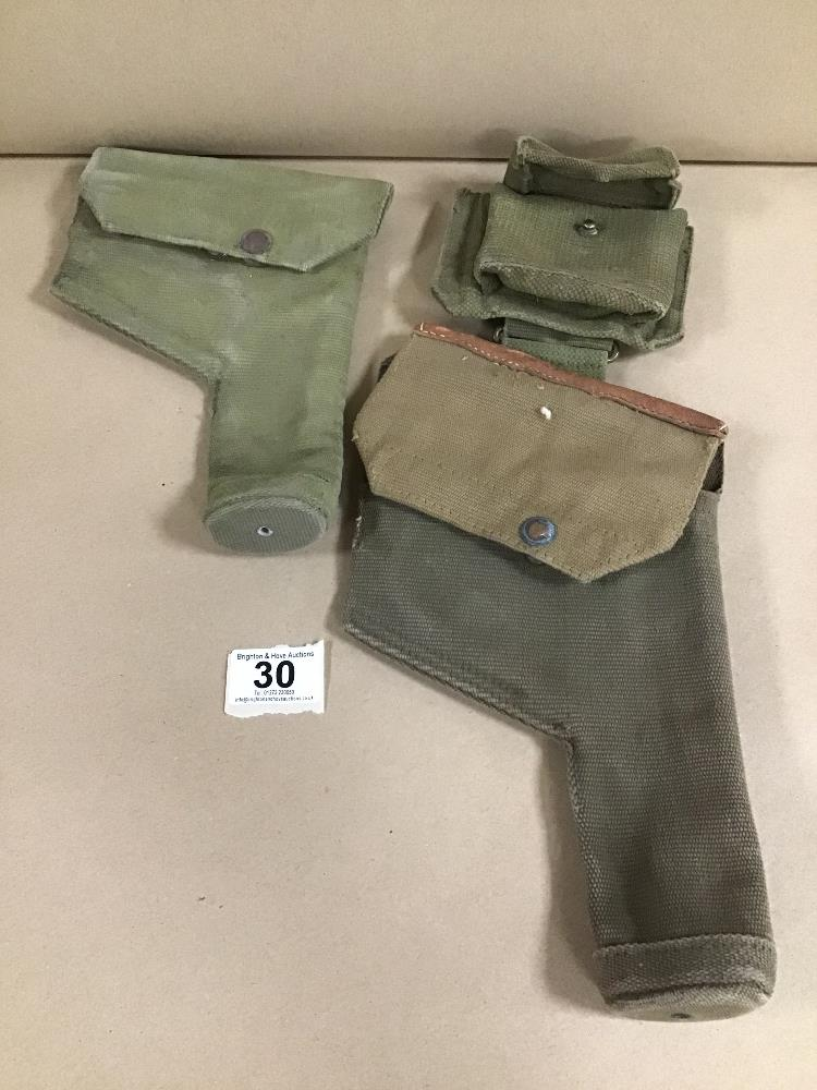 Lot 30 - TWO WWII PISTOL/REVOLVER GUN HOLSTERS, ONE WITH BRITISH MILITARY MARKS AM, M.E.CO 1941
