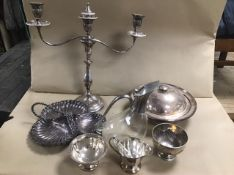 A QUANTITY OF SILVER PLATE, INCLUDING WALKER & HALL TREFOIL TRAY, CANDLEABRA, CLARET JUG AND MORE