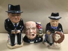 THREE WINSTON CHURCHILL INSPIRED CHARACTER JUGS, ONE BEING ROYAL DOULTONS CHARACTER JUG OF THE