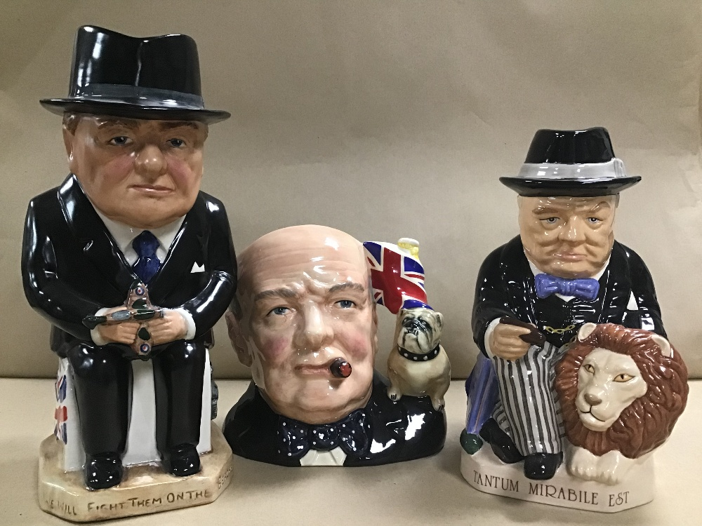 THREE WINSTON CHURCHILL INSPIRED CHARACTER JUGS, ONE BEING ROYAL DOULTONS CHARACTER JUG OF THE - Image 2 of 3