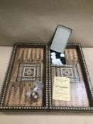 A LARGE ANGLO INDIAN GAMES BOX WITH INLAID MARQUETRY AND PARQUETRY DECORATION. 49CM WIDE