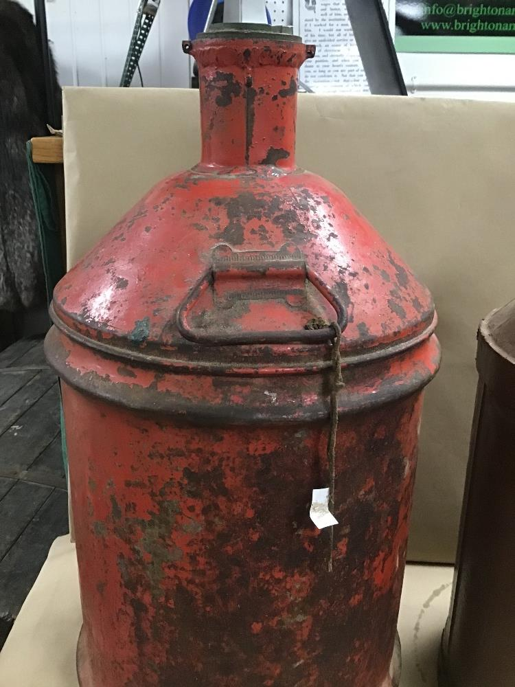 Lot 1 - TWO LARGE OIL CAN DRUMS, ONE BY CASTROL, LARGEST 60CM HIGH