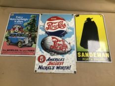 THREE ENAMEL SIGNS, COMPRISING; FORD 8, SANDEMAN PORT & SHERRY AND PEPSI