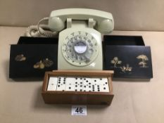 A MID CENTURY TELEPHONE, A SET OF DOMINOES IN CASE AND TWO ORIENTAL LIDDED BOXES