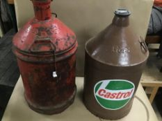 TWO LARGE OIL CAN DRUMS, ONE BY CASTROL, LARGEST 60CM HIGH
