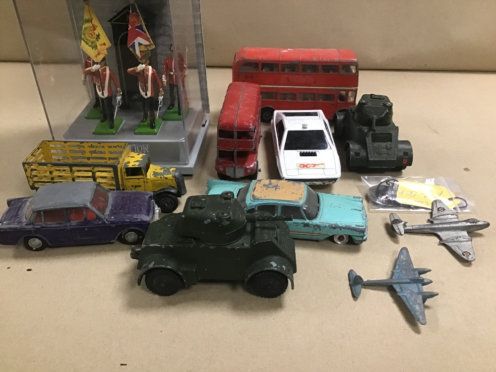 Lot 25 - A GROUP OF VINTAGE METAL VEHICLES, INCLUDING CORGI ROUTEMASTER, CORGI 007 LOTUS ESPIRIT, W BRITAIN