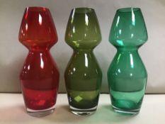 THREE MODERN COLOURED GLASS VASES, 25CM HIGH