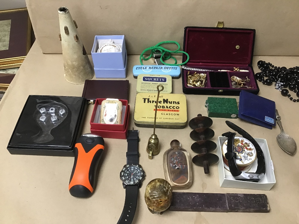 Lot 23 - A MIXED BOX OF COLLECTABLES INCLUDING ORIENTAL SCENT BOTTLES, CUFFLINKS AND CHINA