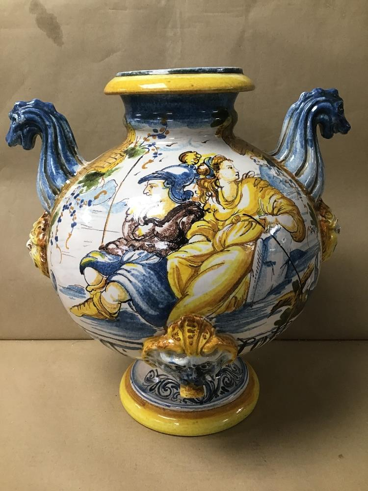 Lot 11 - A LARGE MAJOLICA STYLE JARDINERE VASE, 42CM HIGH