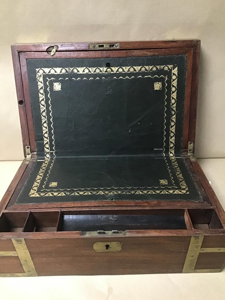 Lot 20 - A 19TH CENTURY MAHOGANY BRASS BOUND WRITING SLOPE