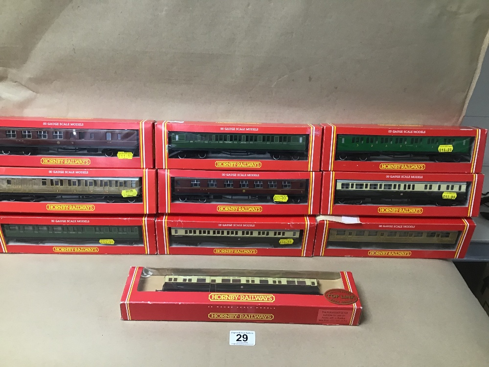 Lot 29 - TEN ORIGINAL BOXED HORNBY RAILWAY CARRIAGES, INCLUDING G.W.R. AND L.M.S.
