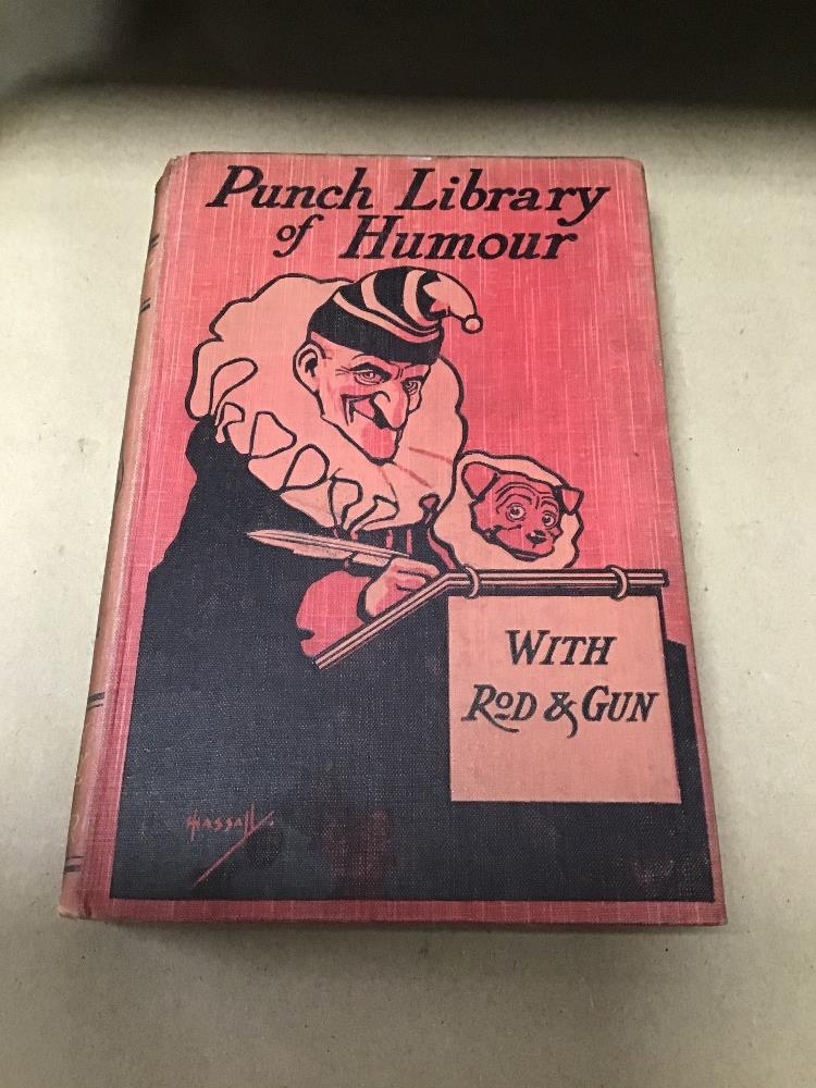 Lot 2 - PUNCH LIBRARY OF HUMOUR IN 25 VOLUMES, ON WOODEN BOOKSHELF